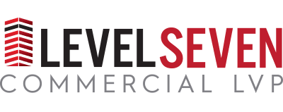 Logo for Level Seven line of vinyl flooring products from Urban Surfaces