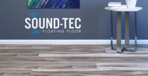 Room scene and logo of Sound-Tec SPC Floating Floor