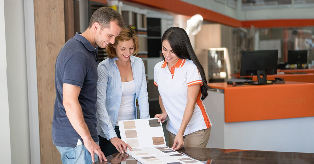 Couple choosing the right flooring