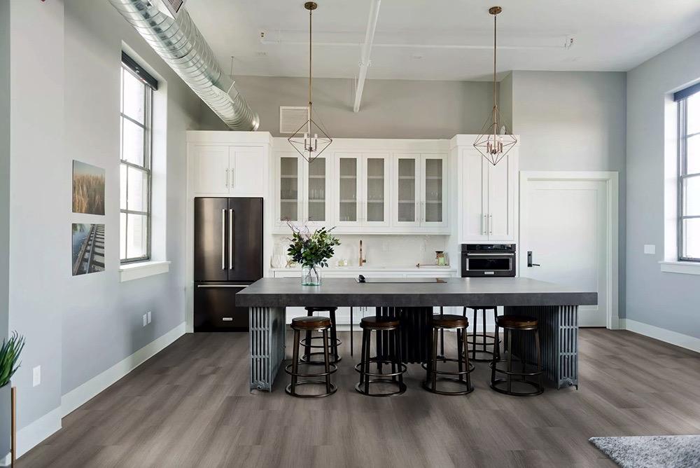 Sample room scene with germ resistant floors