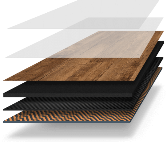 Visualization of the layers that make up InstaGrip Loose Lay Flooring