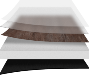 Visualization of the flooring layers including surface coating