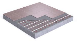Diagram of vinyl flooring over radiant heat