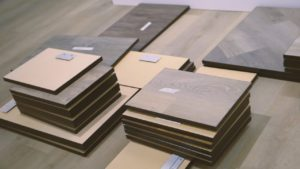 Stacks of flooring samples for Urban Surfaces' Southern California Showroom