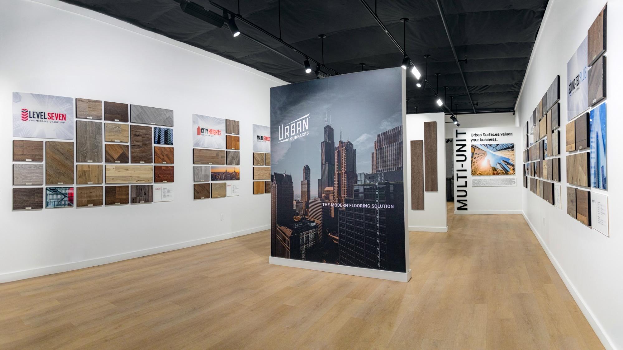 Museum Style Displays Of Vinyl Flooring By Urban Surfaces
