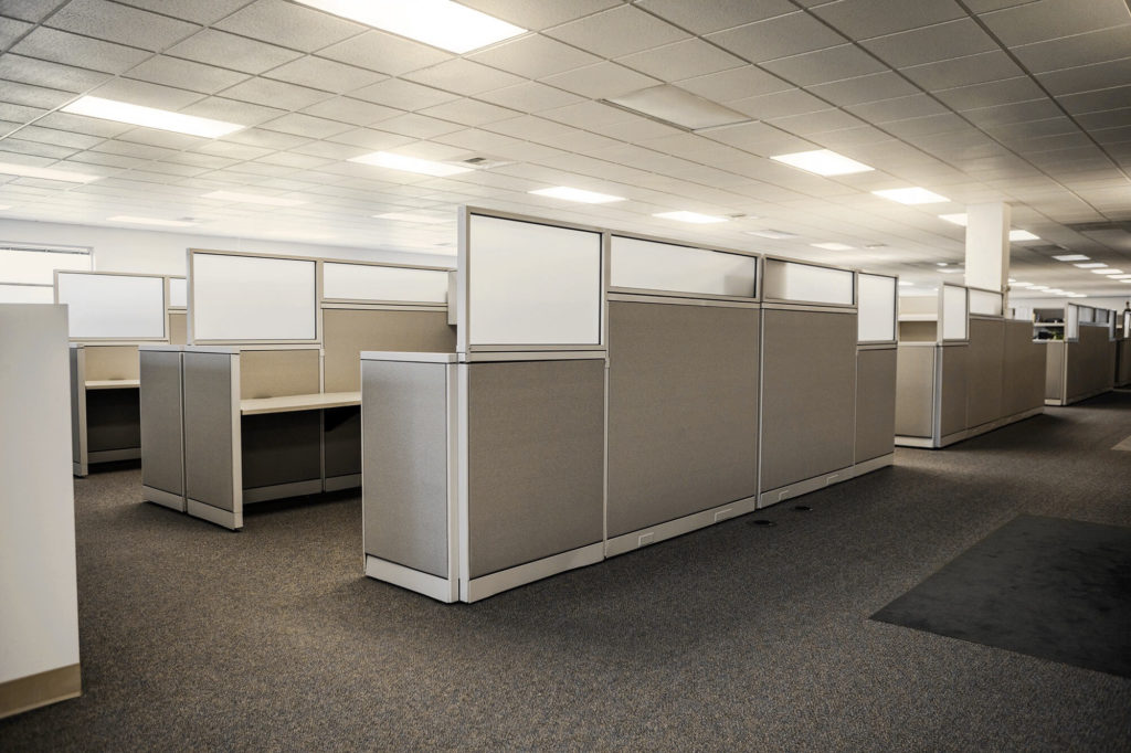 Office cubicles looking much less desirable than a remote-work amenities space